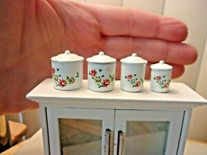 8 PIECE METAL SET OF WHITE CANISTERS - WITH LIDS -  FOR YOUR DOLL HOUSE KITCHEN