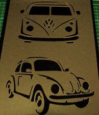 Coche VW Volkswagen Escarabajo caravanas aerógrafo de plantilla paso a paso con el logotipo de Pintura Vieja