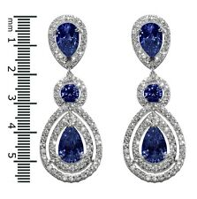 GLITZY PAVE SAPPHIRE+CLEAR HALO TEARDROP CUBIC ZIRCONIA CHANDELIER EARRINGS 57MM