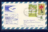 45844) LH FF Stuttgart - Bremen 1.4.73, card feeder mail Israel