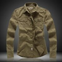 NWT Men's Casual Slim Fit Military Army Style Badge Long Sleeve Denim Jean Shirt