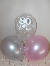 Pink Silver & Clear Printed 80th BIRTHDAY BALLOONS Party Decorations x 15 Helium