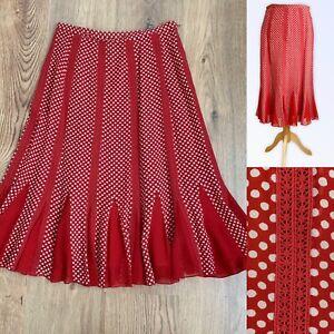 COAST SKIRT UK 8 Fit 10 100% Silk Red Beige Spotted Polka Dot Flippy Hem Flare