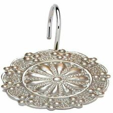 "Carnation Home ""Sheffield"" Resin Shower Curtain Hooks in Silver"