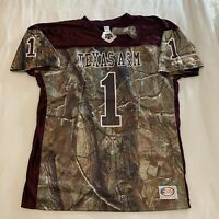 Texas A&M Aggies Realtree Camo Football Jersey Mens Size Large Made In USA