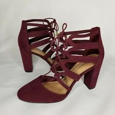 """Christian Siriano Payless Caged Vamp Dress Shoes Red Burgundy Lace Tie 4"""" Heels"""