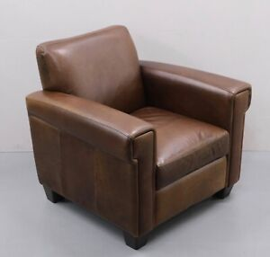 JOHN LEWIS CHESTNUT BROWN LEATHER ARMCHAIR RRP £1099 / FOODSTOOL AVAILABLE