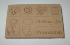 BEE Flowers Rubber Stamp Foam Mounted Set of 9 Hello Missing You Friendship New