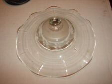 Antique Clear Glass w/ Etch Cut Smoke Bell for Hanging Oil Lamp Fluted Ruffled
