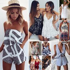 Womens Ladies Mini Playsuit Jumpsuit Summer Holiday Short Beach Maxi Dress 6-20