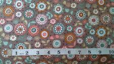 Flower Fabric Doodle Days Floral  fat 1/4 100% cotton Makower 1874 brown