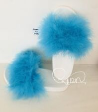 Beautiful Handmade Turquoise Big Fluffy Fur Sliders 3,4,5,6,7uk 1DAY SALE £18.00