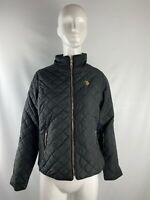 NWT U.S. Polo Assn Black Polyester Full Zip Quilted Jacket Women's Size M