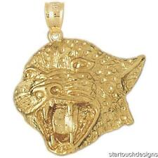 New 14k Yellow Gold Leopard Head Pendant