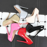 Sexy Womens Stilettos High Heels Nightclub Prom Shoes Pumps Platform Shiny Color