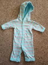 Baby Sprockets Hooded Blue Striped Jumpsuit Romper Boys Size 0-3 months