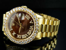 18K Mens Yellow Gold Rolex President Day-Date 36MM Brown Dial Diamond Watch 6 Ct