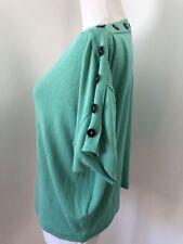 BALENCIAGA KNITS Women's Green Button Detail Sweater Top Shirt 42 Medium
