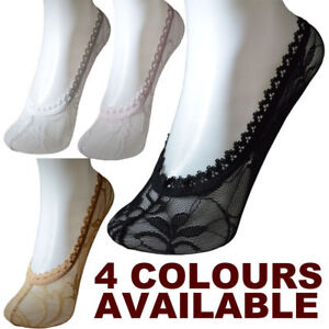5Pairs Women Ladies Skin Shoe Liners Footsies Invisible Thin Lace Socks Sheer UK