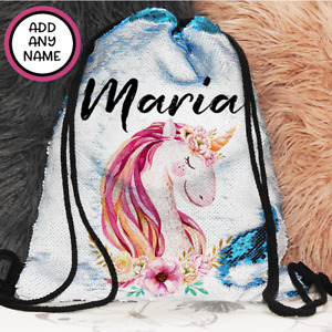 Personalised Unicorn Magic Sequin Bag Backpack with Drawstring Christmas Gift