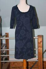 Fresh Produce M 100% Cotton 3/4 Sleeve Navy/Blue Floral Ruffled Neck Dress