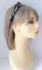 Gorgeous black skinny pvc bow headband - aliceband with gold stud detail