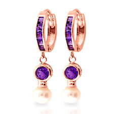 4.15 Carat 14K Solid Rose Gold Huggie Earrings pearl Amethyst