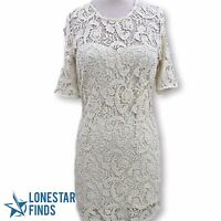 UO Sparkle & Fade Ivory White Lace Floral Keyhole Back Sheath Dress Sz M F7