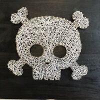 Skull And Crossbones Nail String Art Wood Wall Plaque