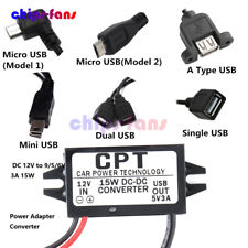 Step down DC 12V to 9/5/6V 3A 15W Mini/Micro/Double USB Power Adapter Converter