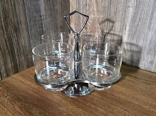 Vintage Mid Century 4 Clear Bar Glass Set & Stainless Rotating Caddy D9