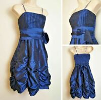 Vintage 80's Electric Blue Gathered Ruffle Taffeta Strappy Party Dress size 8-10
