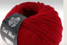 Lana Grossa Cool Lana Extra Fina Lana Merino 50g Color 437 Rojo Carmín