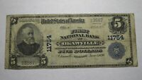 $5 1902 Okawville Illinois IL National Currency Bank Note Bill Ch. #11754 RARE!