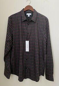 NWT Calvin Klein Long Sleeve Button Down Purple Plaid Men's Shirt size L