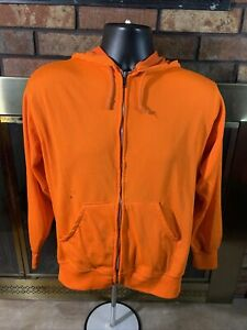 Vintage Thermal Lined Orange Hoodie Hooded Sweatshirt Mens Sz Small Vtg Hunting