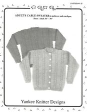 "Adult's Cable Sweater Pullover Cardigan 36""-50"" Knit Pattern Yankee Knitter #25"
