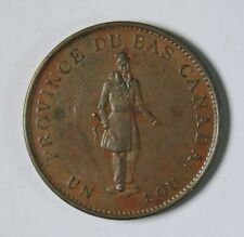 1837 Province of Canada Canadian Quebec Bank Half Penny Copper Token AU+ LC-8B1