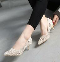 Womens Pointy Toe Slip On Pumps Lace Stilettos 5cm Kitten Heel Sexy Shoes Chic