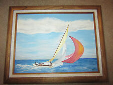 VINTAGE sailboat ship seascape ocean original hand painted oil PAINTING by KERRY