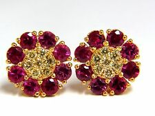 2.75ct Natural Fancy Yellow Diamonds Ruby Cluster Earrings 14kt.