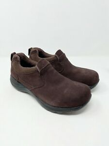 LL Bean Primaloft Insulated Brown Suede Moc Slip On Shoes Women's Size 10