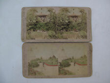 Lot 2 Color Stereoview Cards Slides National Soldiers Home Dayton Ohio Military