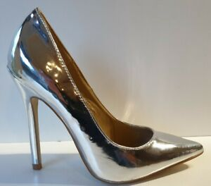 Stunning Sole Sister Silver High Heel Pointed Toe Evening Party Courts UK 4