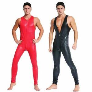 Exotic PU leather Sexy Men's Fetish 2-way zipper cross crotch Playsuit Clubwear