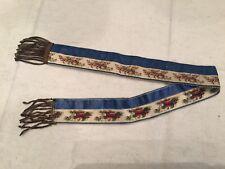 Ancien et très joli ruban de soie frangé fil d'or