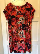 Next Size 10 Shift Dress Coral Pink Red Leaf Print PRISTINE
