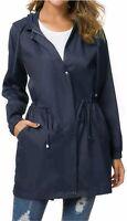 Besshopie Lightweight Raincoat for Women Waterproof Packable Hooded, Blue, Size