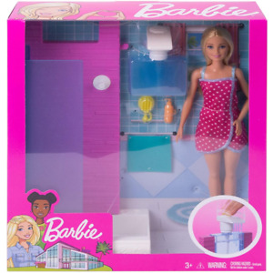 Barbie Doll and Furniture Set - Bathroom with Working Shower FXG51