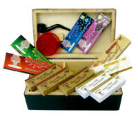 New Smoking Starter Rolling Wooden Box Set Hornet Papers Grinder Pipe Tips UK